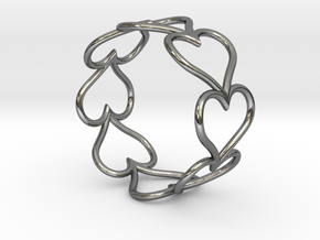 Size 7 Love Heart D in Fine Detail Polished Silver