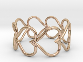 Size 9 Love Heart D in 14k Rose Gold Plated Brass