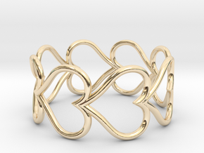 Size 9 Love Heart D in 14K Yellow Gold
