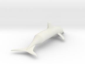 Simple Dolphin Toy or Model in White Natural Versatile Plastic