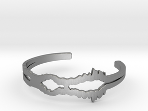 I Love You Sound Wave | Wrist Cuff in Natural Silver: Large