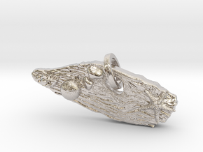Driftwood keychain or large pendant in Rhodium Plated Brass