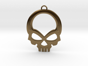 Skull Pendant in Polished Bronze
