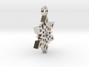 Earring Snowflake B in Rhodium Plated Brass