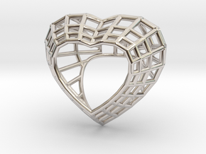 The Heart Diamond Ring / size 6 (16.5 mm diameter) in Rhodium Plated Brass