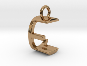 Two way letter pendant - CE EC in Polished Brass