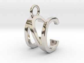 Two way letter pendant - CN NC in Rhodium Plated Brass