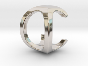 Two way letter pendant - CO OC in Rhodium Plated Brass