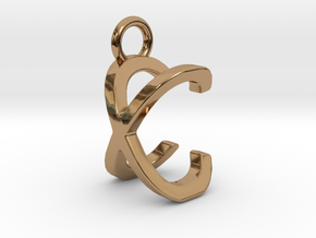 Two way letter pendant - CX XC in Polished Brass