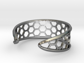 Cuff Bracelet, Honeycomb Mesh in Polished Silver