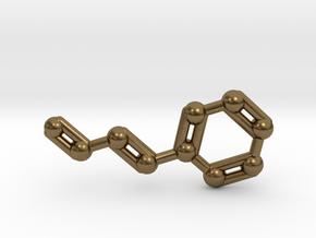 Cinnamaldehyde (Cinnamon) Molecule Keychain in Natural Bronze