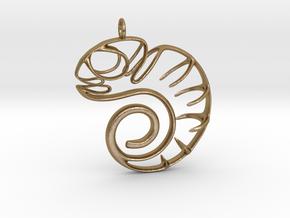 Chameleon pendant in Polished Gold Steel