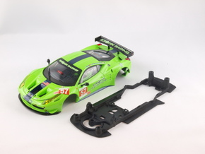 S08-ST2 Chassis for Carrera Ferrari 458 GT2 STD/ST in Black Strong & Flexible