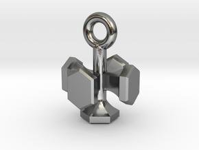 Shield Hexagon Charm Keychain in Polished Silver