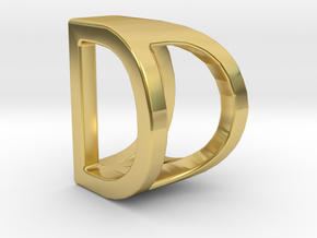 Two way letter pendant - DD D in Polished Brass