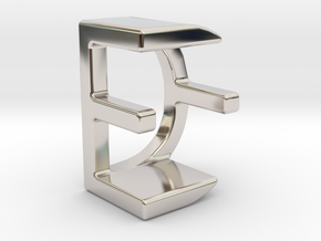 Two way letter pendant - DE ED in Rhodium Plated Brass