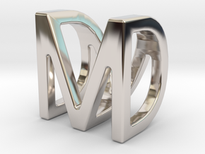 Two way letter pendant - DM MD in Rhodium Plated Brass