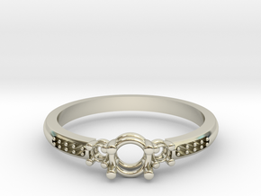 Prong 3 Stone Band in 14k White Gold