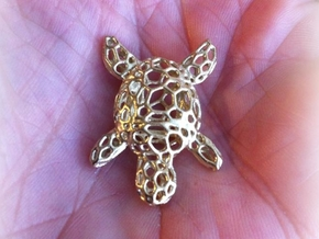 Turtle-Pendant-Shapeways-thickness-test2-0.6mmthic in Natural Brass