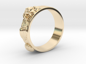 Sea Shell Ring 1 - US-Size 6 1/2 (16.92 mm) in 14k Gold Plated Brass