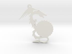 Small Customizable Dragon Keychain/Pendant in White Natural Versatile Plastic
