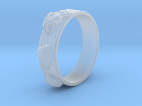 Sea Shell Ring 1 - US-Size 9 1/2 (19.41 mm) in Smooth Fine Detail Plastic