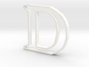 Typography Pendant D in White Processed Versatile Plastic