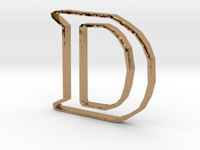 Typography Pendant D in Polished Brass