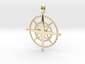Compass Rose Pendant in 14K Yellow Gold