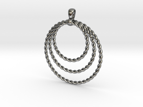 Three Rope Pendant/ Necklace in Fine Detail Polished Silver