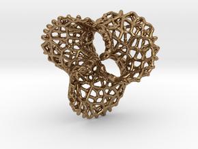 Scherk 7 Voronoi Mesh Pendant - 25mm in Natural Brass