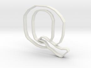 Typography Pendant Q in White Natural Versatile Plastic