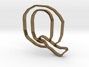 Typography Pendant Q in Polished Bronze