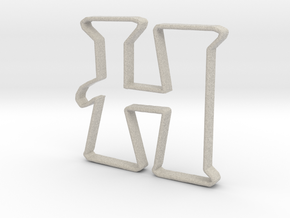Typography Pendant H in Natural Sandstone