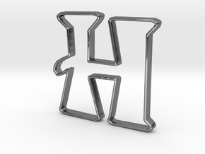 Typography Pendant H in Fine Detail Polished Silver