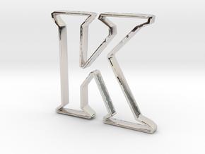 Typography Pendant K in Rhodium Plated Brass