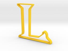Typography Pendant L in Yellow Processed Versatile Plastic