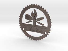 Bluff City Logo - Steel Mountable in Polished Bronzed Silver Steel