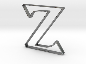 Typography Pendant Z in Fine Detail Polished Silver