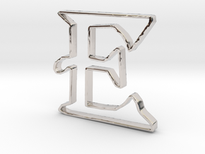 Typography Pendant E in Rhodium Plated Brass
