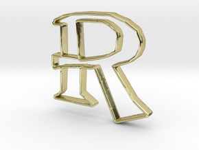 Typography Pendant R in 18k Gold
