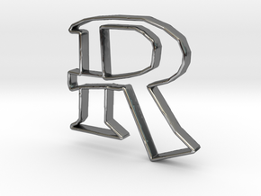Typography Pendant R in Fine Detail Polished Silver