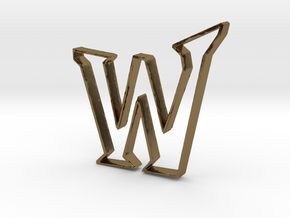 Typography Pendant W in Polished Bronze