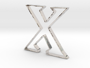 Typography Pendant X in Rhodium Plated Brass