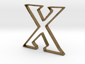 Typography Pendant X in Polished Bronze