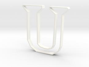 Typography Pendant U in White Processed Versatile Plastic