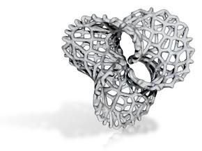 Scherk 7 Voronoi - thickened for precious metals in Rhodium Plated Brass