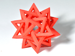 Five Tetrahedra in Red Processed Versatile Plastic: Medium