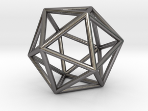0026 Icosahedron E (5 cm) in Polished Nickel Steel