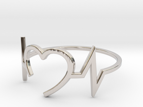 Size 6 Heartbeat in Rhodium Plated Brass